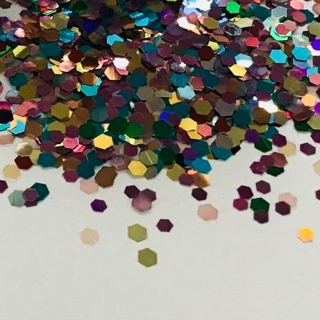 2mm HEXAGON MULTI GLITTER  POT - 10g