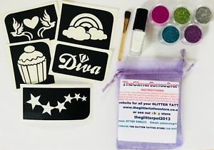CUPCAKE/RAINBOW GLITTER TATTOO KIT